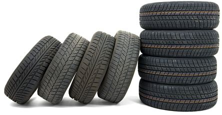 Eight used tyres