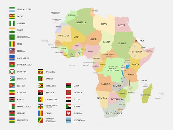 A map with all African flags and countries